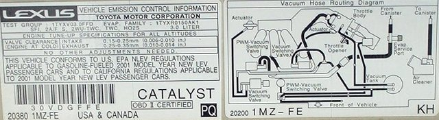Lexus Rx 300. Note Emission Control Label. Lexus. 1999 Lexus Es 300 Vacuum Diagrams At Scoala.co